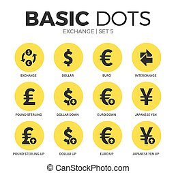Exchange flat icons vector set - Exchange flat icons set...