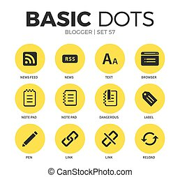 Blogger flat icons vector set - Blogger flat icons set with...