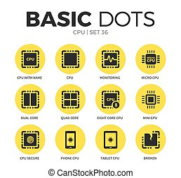 CPU flat icons vector set - CPU flat icons set with...