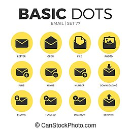 Email flat icons vector set - Email flat icons set with...