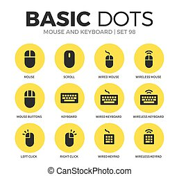Mouse and keyboard flat icons vector set - Mouse and...