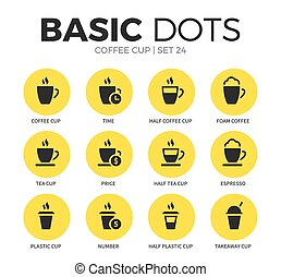 Coffee cup flat icons vector set - Coffee cup flat icons set...