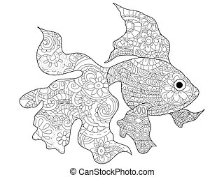 Goldfish Coloring book vector for adults - Goldfish sea...