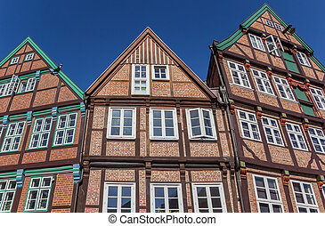 Half timbered houses in the historical city center of Stade...