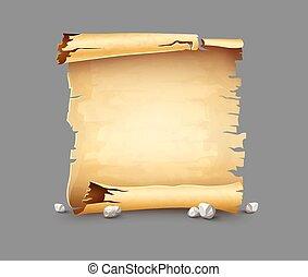Old paper scroll antique manuscript bundle banner