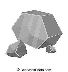 Purple rough gemstone icon in monochrome style isolated on...