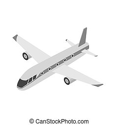 Airplane icon in monochrome style isolated on white...