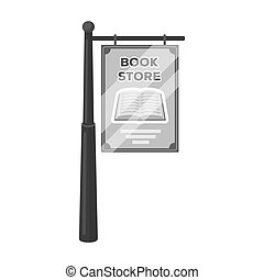 Bookstore signage icon in monochrome style isolated on white background. Library and bookstore symbol stock bitmap illustration.