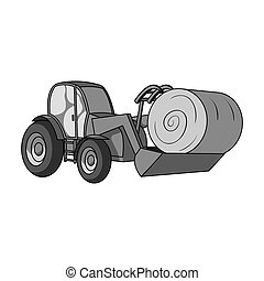 Orange tractor with a ladle transporting hay bale. Agricultural vehicles.Agricultural Machinery single icon in monochrome style bitmap symbol stock illustration.