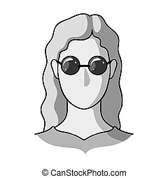 A woman with blond hair with glasses.A blind woman because of diabetes.Diabetes single icon in monochrome style bitmap symbol stock illustration.
