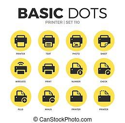 plano,  vector, Conjunto, impresora, iconos