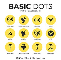 Radio tower flat icons vector set