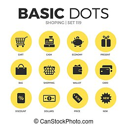 Shoping flat icons vector set - Shoping flat icons set with...
