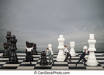 Strategy and tactics in business - Businessmen move the...