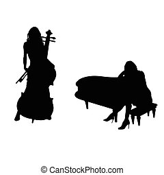 girl figure silhouette with music instrument set illustration