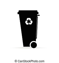 recycle trashcan in black color illustration on white