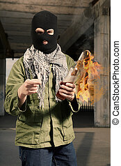 Extremist with burning bottle flammable bomb - Anarchist in...