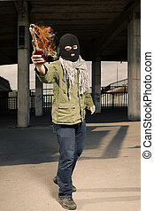 Extremist with molotov cocktail flammable bottle - Anarchist...