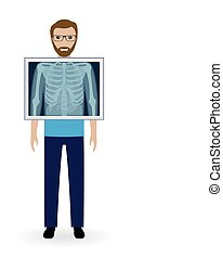 Adult man with x-ray chest vision. Radiography patient banner. Mockup of medical examination.