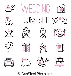 Outline wedding day black and pink marriage icons set of...