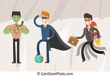 Superhero business man vector illustration set character success cartoon power concept businessman strong person silhouette leader team isolated