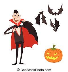 Cartoon dracula vector symbols vampire icons character funny...