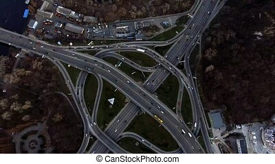 Aerial view of highway junction.