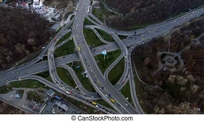 Aerial shot of evening road traffic in Kiev, Ukraine. -...