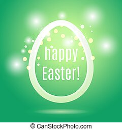 Beautiful Easter egg from a strip on a green background with glow and bokeh particles