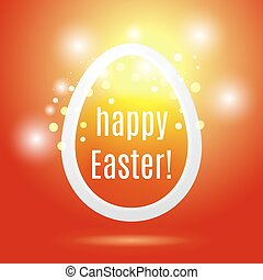 Beautiful Easter egg from a strip on a red background with glow and bokeh particles