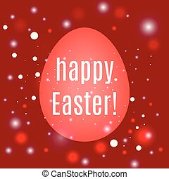 Beautiful Easter egg on red background with glow and bokeh particles