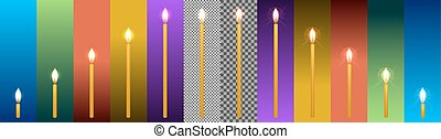 set of church wax candles of different sizes and with different glow on a transparent background and backgrounds in different colors