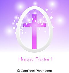 Beautiful Easter egg with cross on pink background with glow and bokeh particles