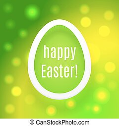 Beautiful Easter egg on green background with glow and bokeh particles