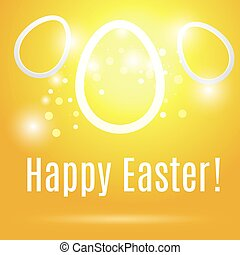 Three beautiful Easter contour eggs  on a yellow background with glow and bokeh particles