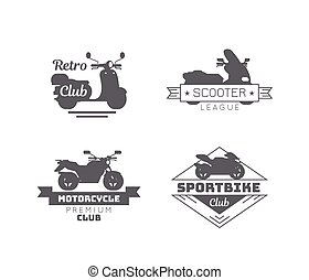 Black Motorcycle Logotypes Set - Black motorcycle logotypes...