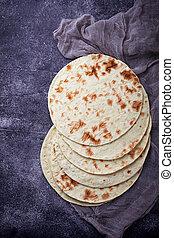 Mexican corn tortillas. Selective focus