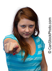 Young woman - pointing finger