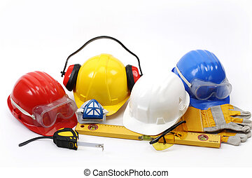 Safety - Four helmets- safety gear kit close up