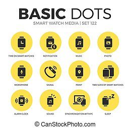 Smart watch flat icons vector set - Smart watch flat icons...