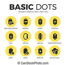 Smart watch pay flat icons vector set