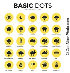 Weather flat icons vector set - Weather flat icons set with...