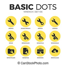 Wrench flat icons vector set - Wrench flat icons set with...