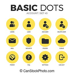 Account flat icons vector set