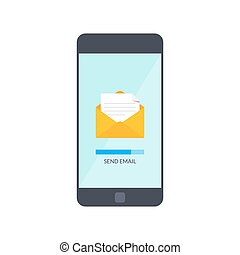 Message send on mobile phone. Email marketing. Vector illustration in flat style isolated on white background.