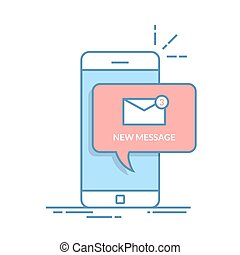 Notification of a new email on your mobile phone or smartphone. Mail icon in the speech bubbles. Thin line vector flat illustration isolated on white background.
