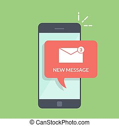 Notification of a new email on your mobile phone or smartphone. Mail icon in the speech bubbles. Flat illustration isolated on green background.