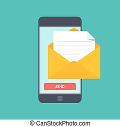 Message send on mobile phone. Email marketing. Vector illustration in flat style isolated on color background.