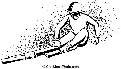 Downhill Woman Skier - Stylized line illustration of female...