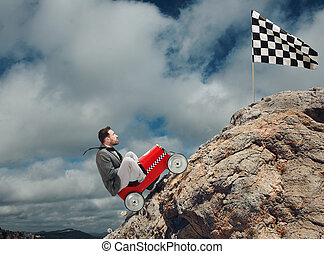Difficult career and achievement business goal - Businessman...